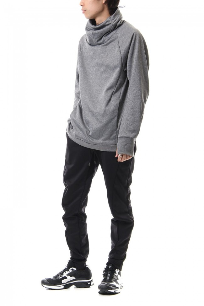 COVERED NECK L/S T.GRAY