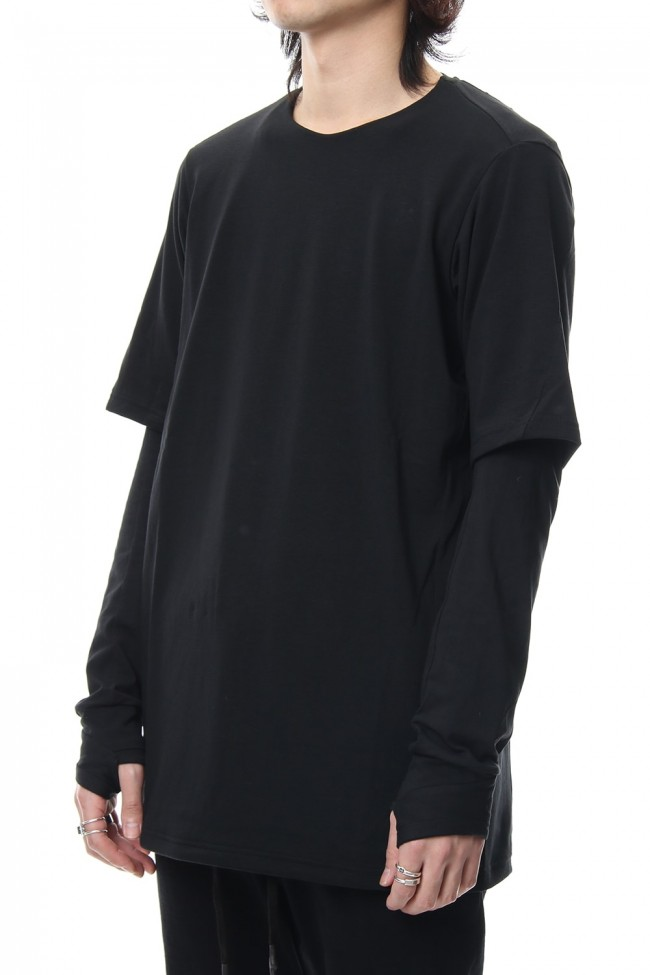 Long sleeve layerd type cotton canapa jersey