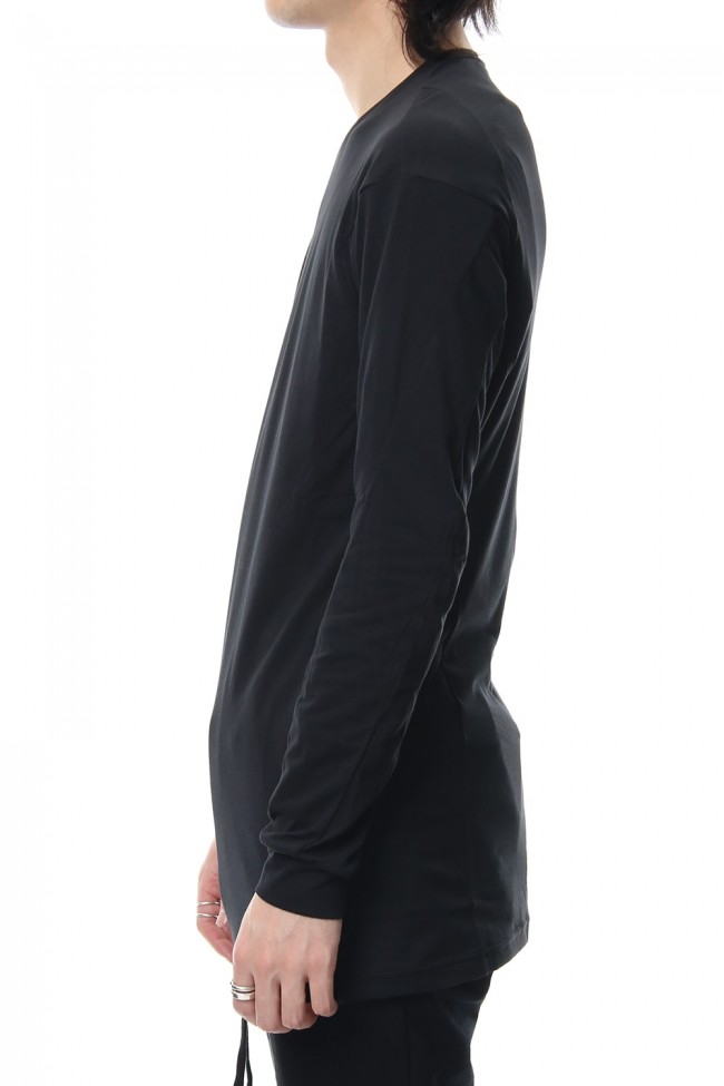 Long sleeve cotton stretch jersey - Black