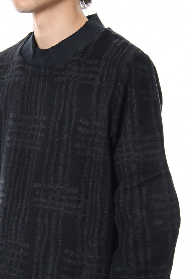 Pullover CT63 Grid Pattern Jaquard Wool Beaver Finished