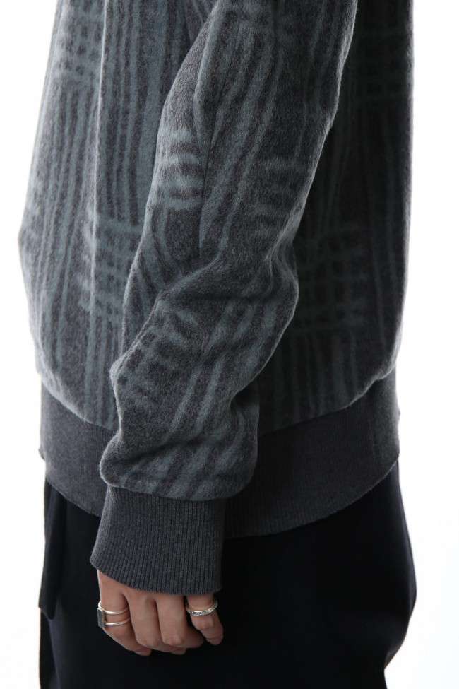 Pullover CT63 Grid Pattern Jaquard Wool Beaver Finished Gray Green