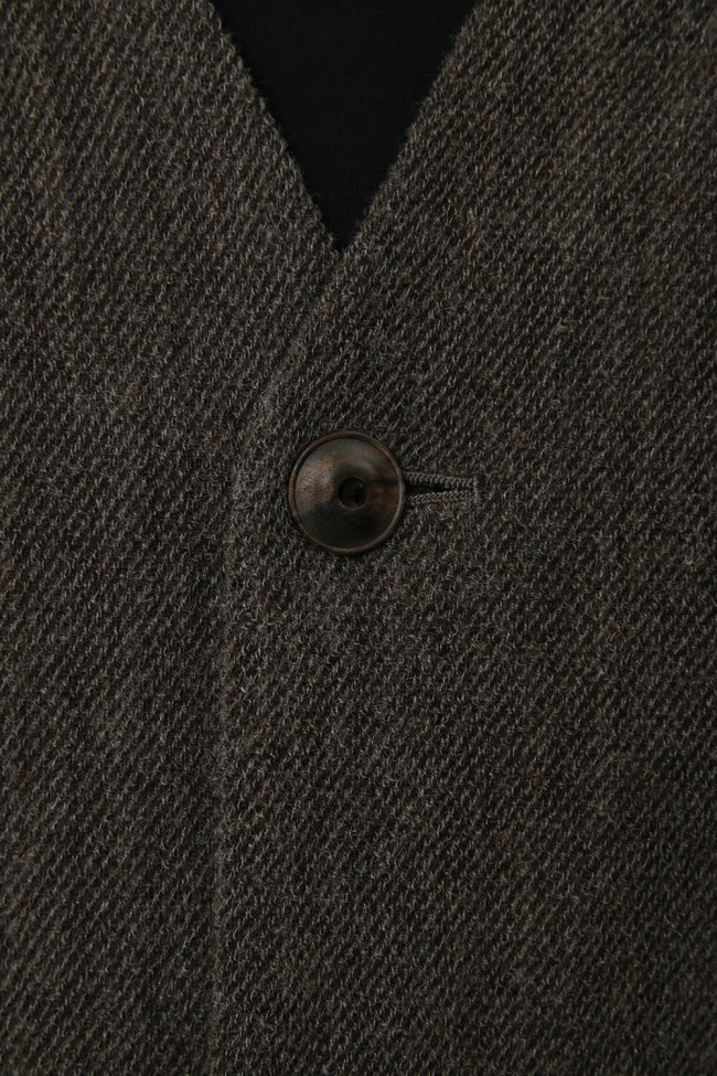 Jacket Wool / Cotton Raschel Knit Brown Gray