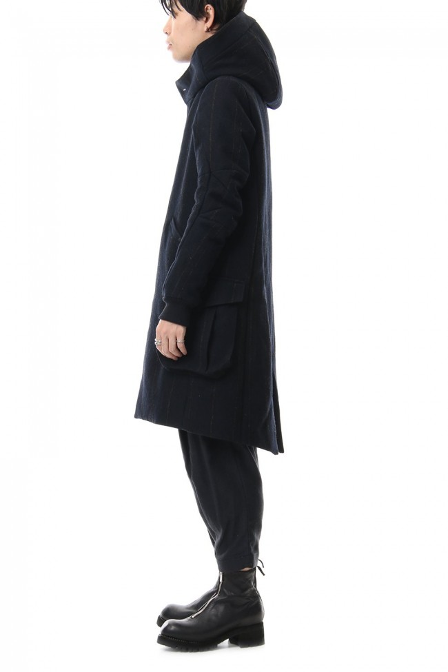 Shetland Wool Linen Stripe Batting Hood Coat Navy Black