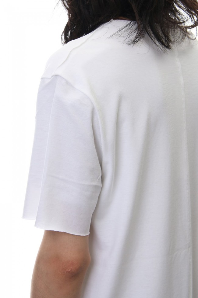 Layered Cutsew V-neck - White