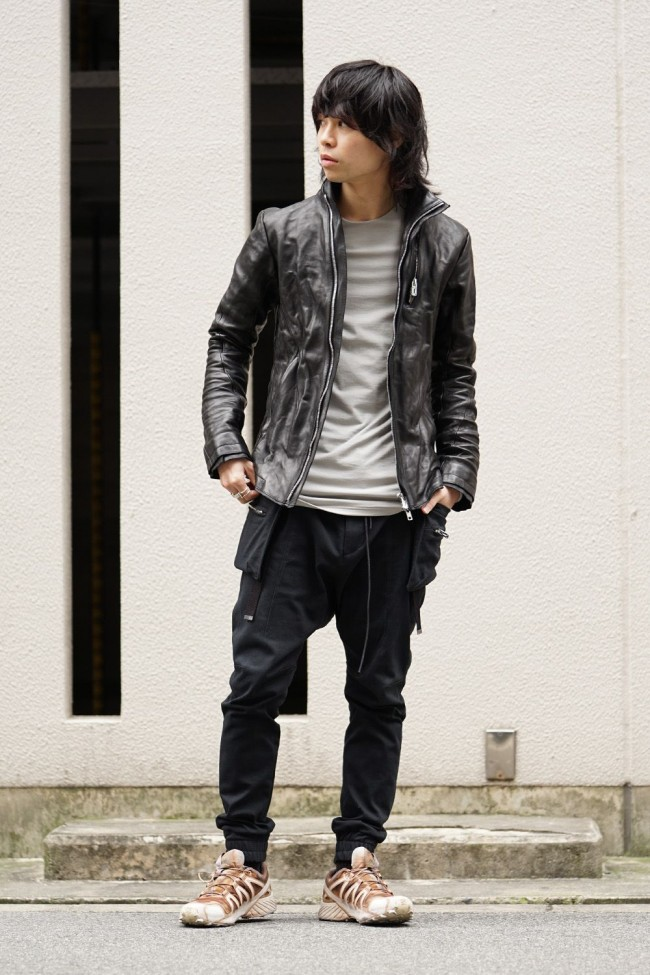 High-necked leather jacket - ST105-0019S