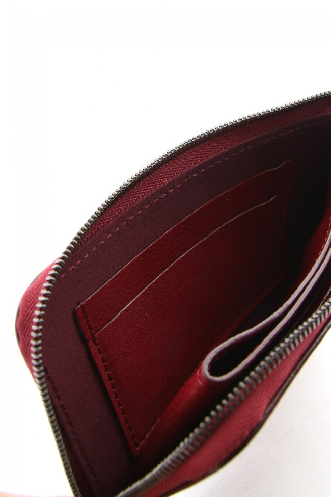 Antique leather compact wallet - Red - DV-A07-703