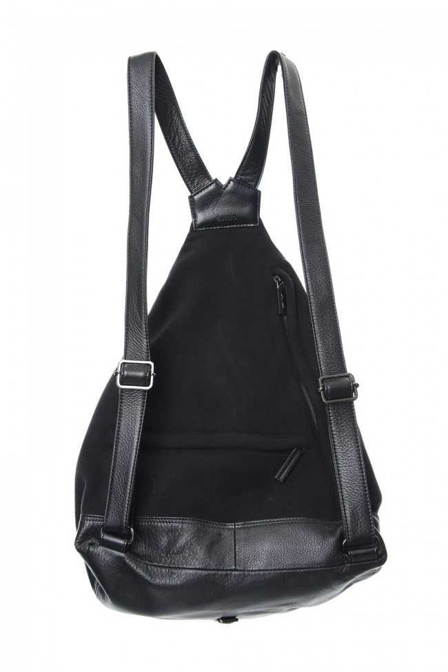 Switching Tuck Back Pack BIG Brushed & Leather - DV-I10-903 Black