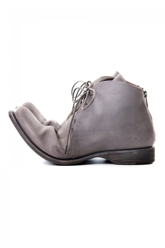 Guidi Reverse Calf Leather Back Zip Ankle Boots Purple Gray