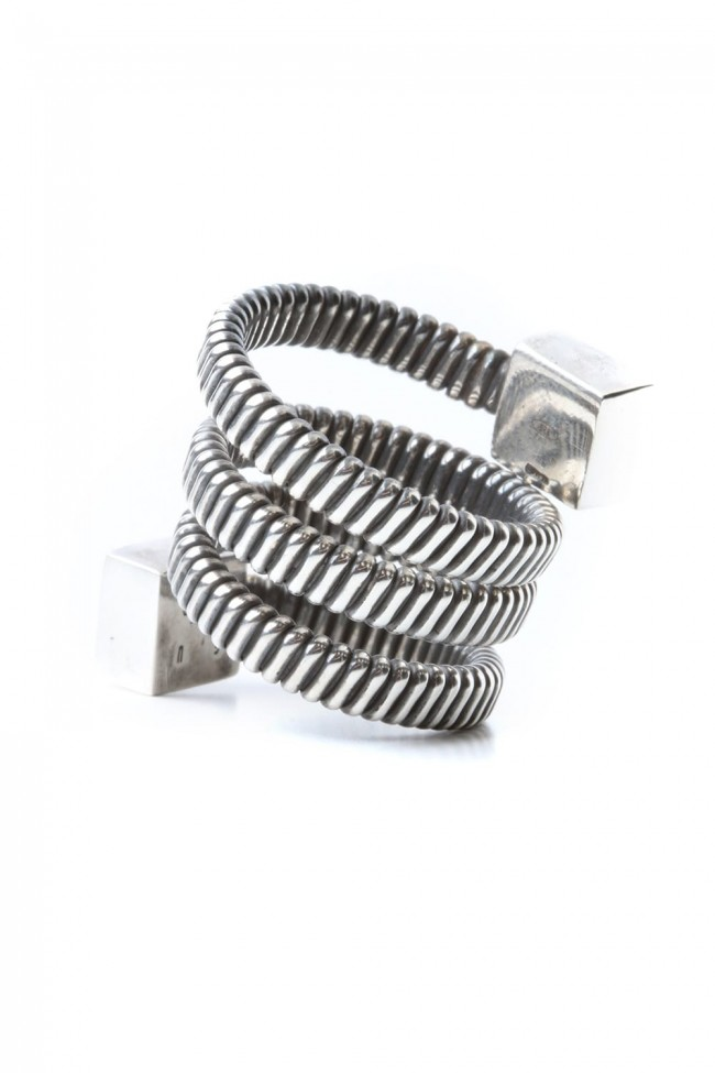 Leather Motif Spiral Ring