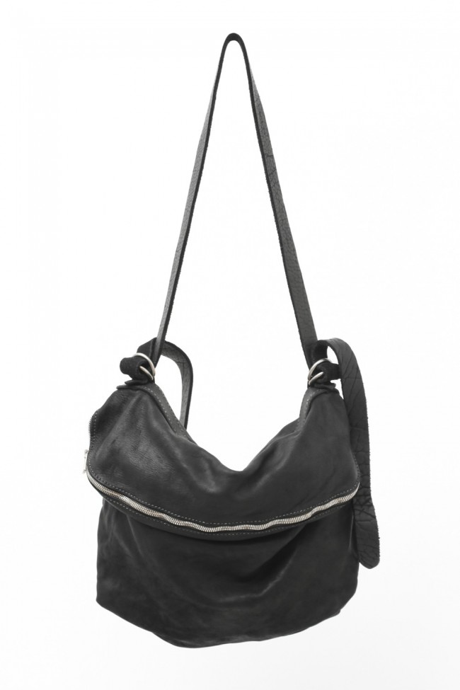 Leather Shoulder Bag - Soft Horse Full Grain Leather - M10 - BLACK