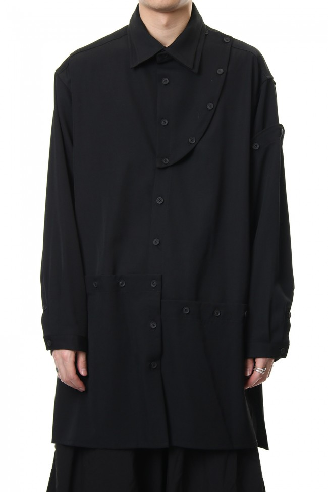 Front Detachable Button Shirt Wrinkled Gabardine