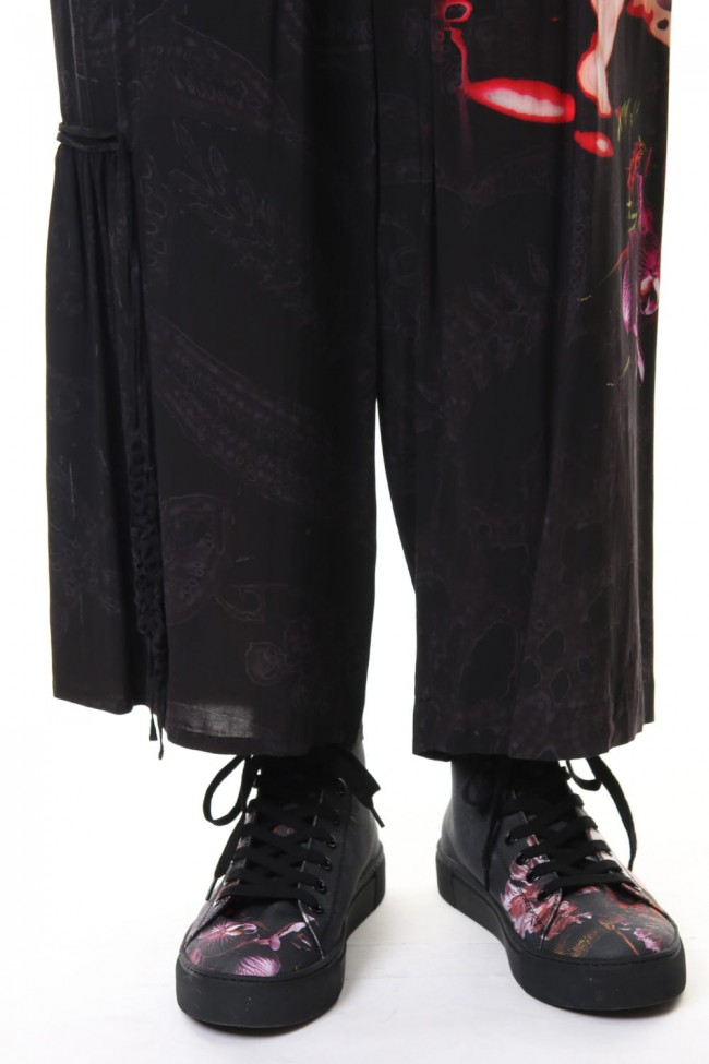 Gather Drawstring Pants Print A