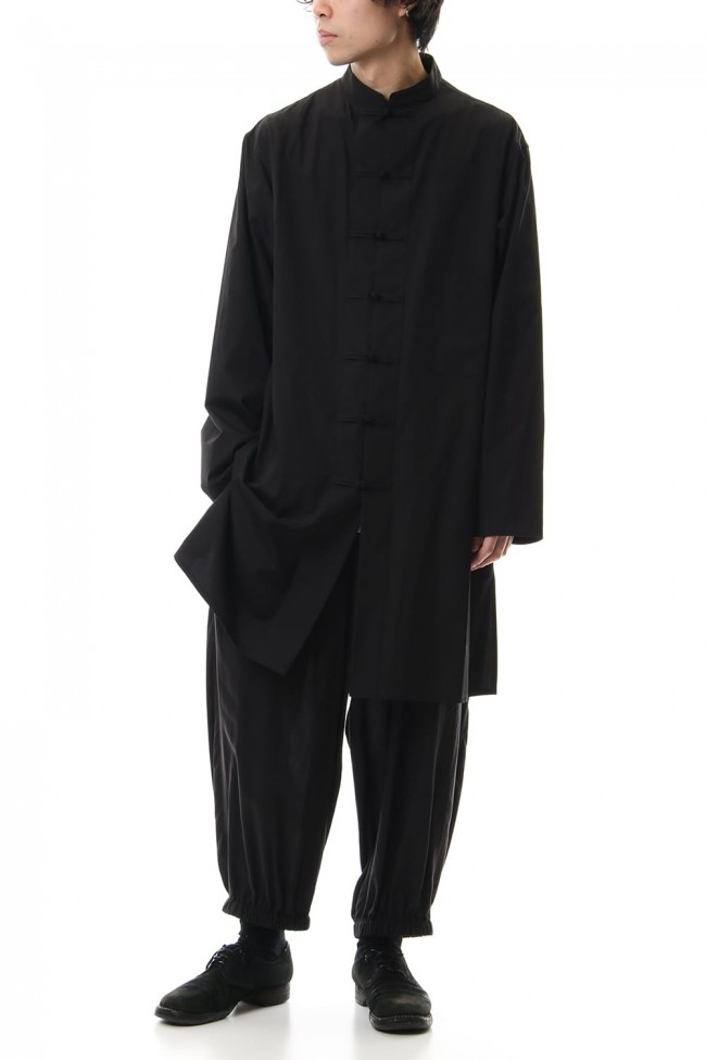 100/2 Broad Long China shirt Black