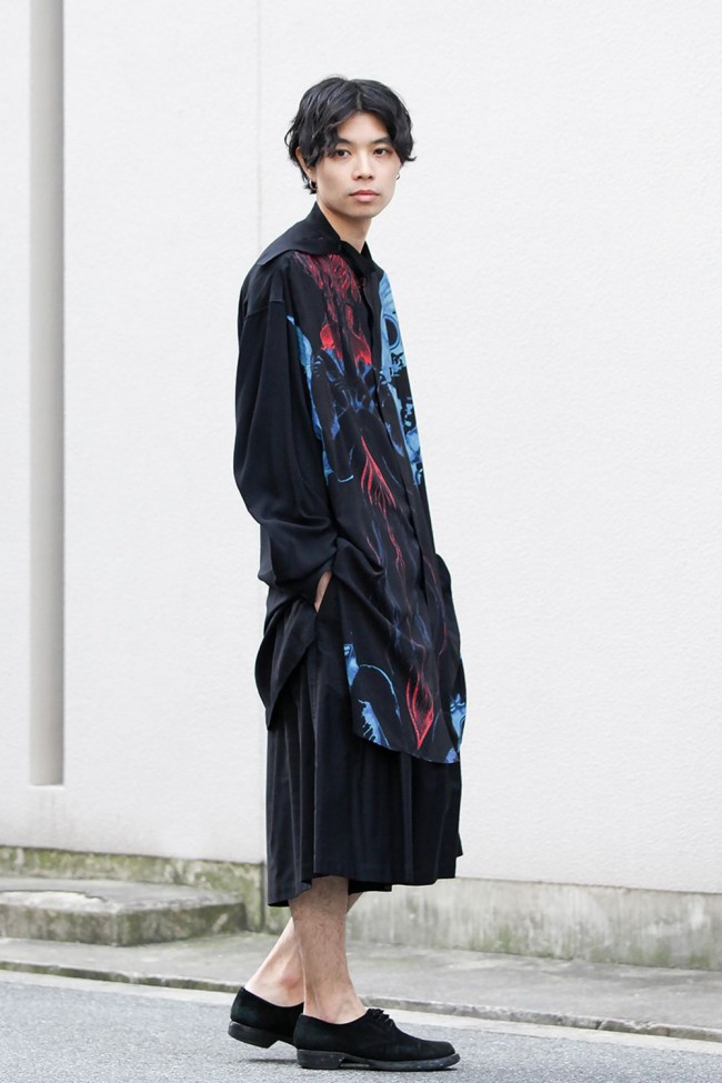 Deformation stand collar Print blouse