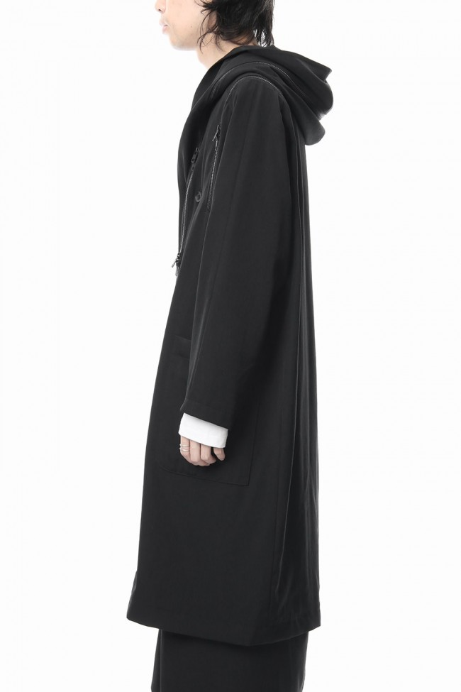 Hooded Double Fastener Long Coat - NV-C52-100