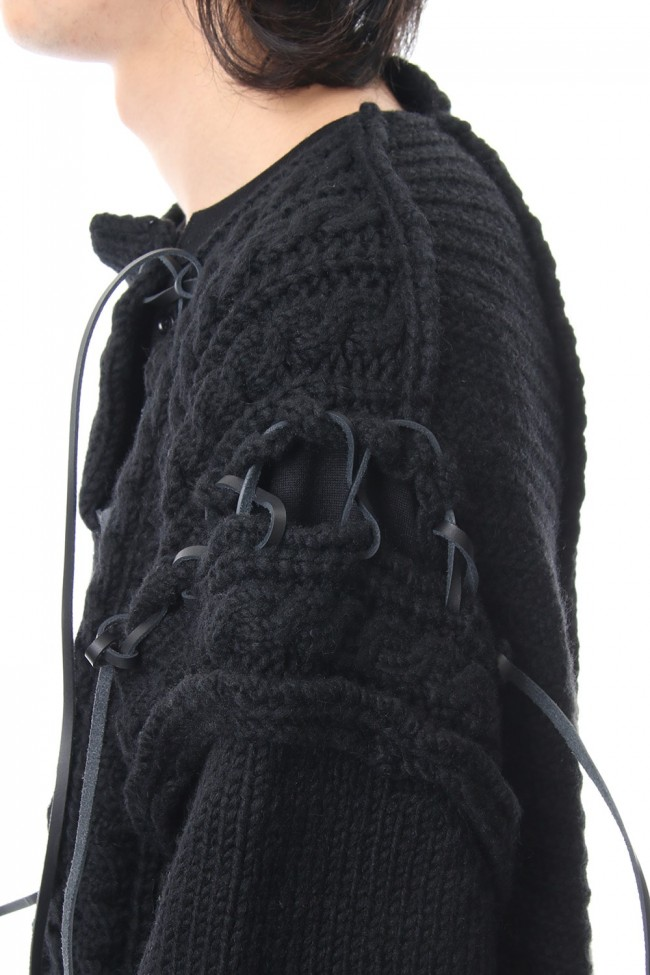 Leather Lace Seam Grafting Knit