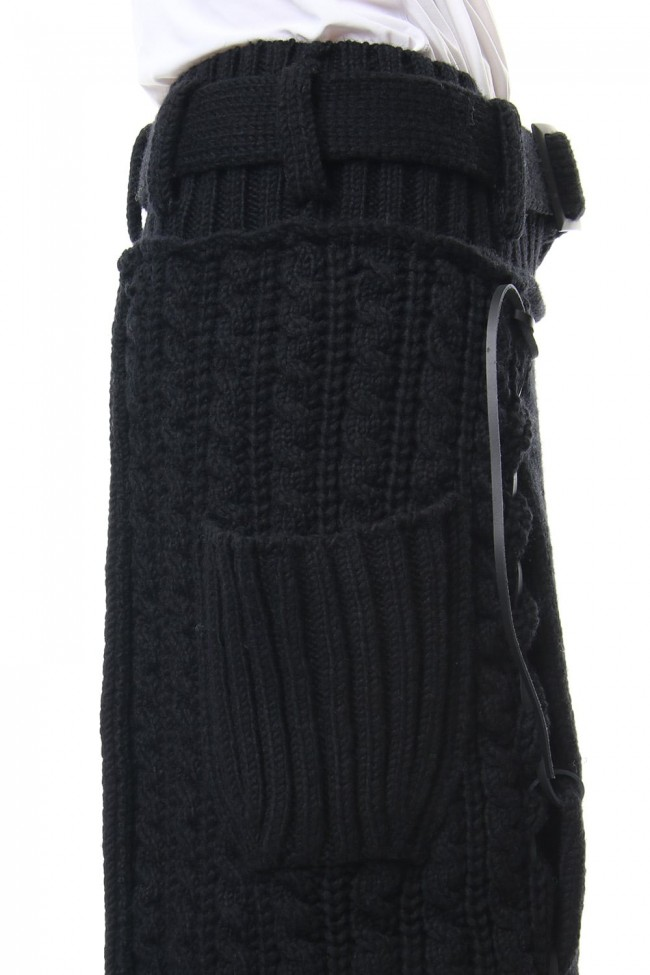 Leather Lace Seam Grafting Knit Long Skirt