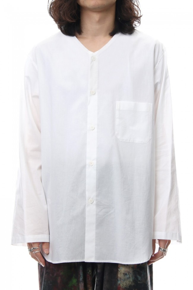 No Collar Long Sleeve Shirt