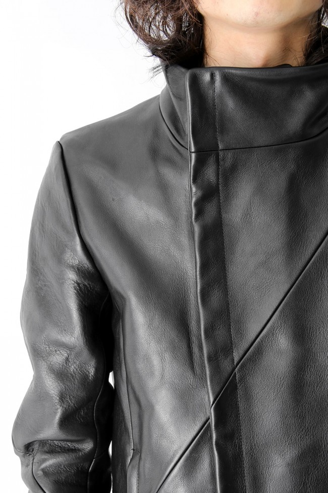 Gloved Twisted Sleeve Calf Leather Jacket