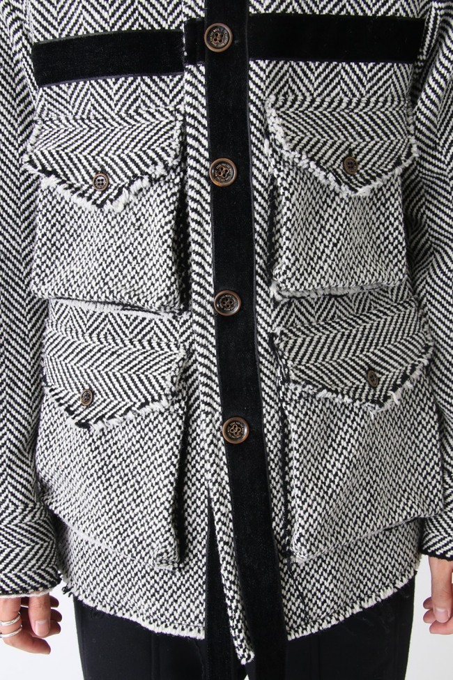 Moth Print 4 Pocket Square Jacket - No Print