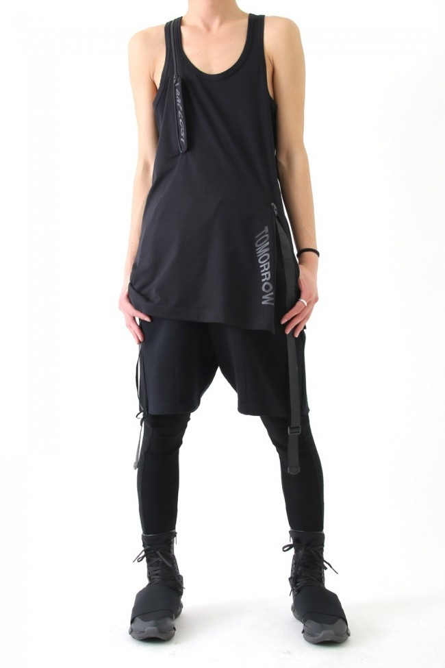 17SS JERSEY ZIP TANK TOP BLACK