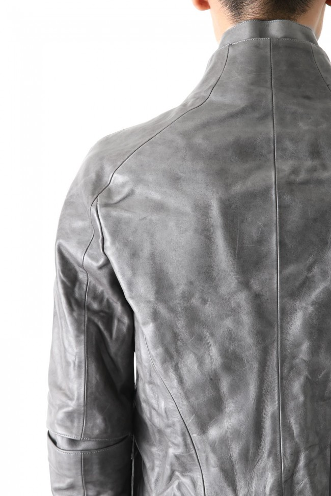 Layered Neck Leather Jacket