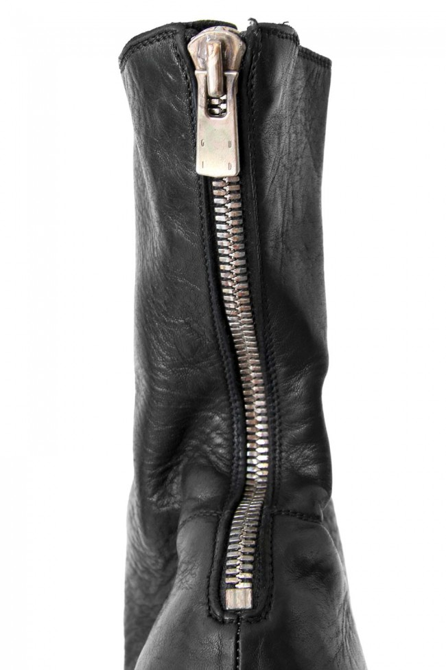 Back Zip Boots Sole Rubber - Horse Full Grain Leather