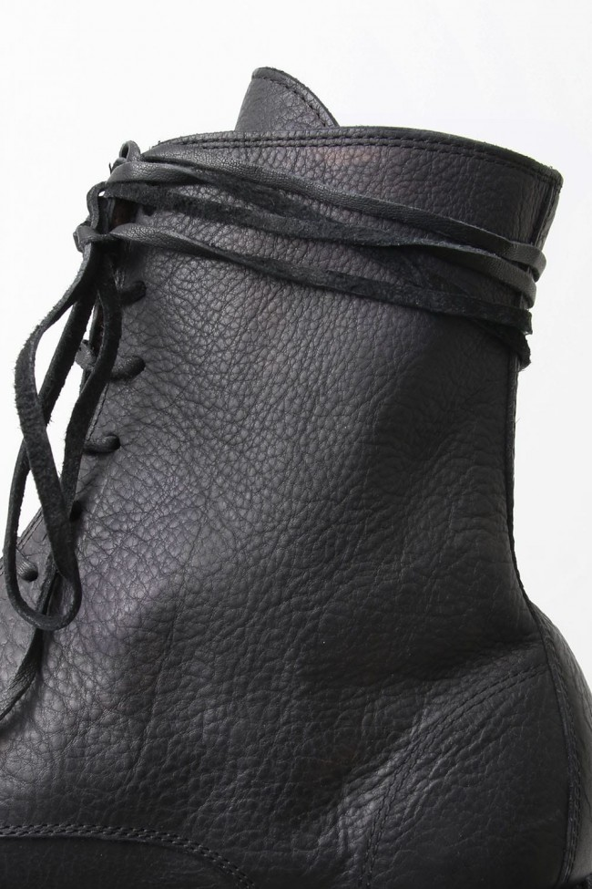Laced Up Boots Sole Rubber - Hand Dyed Leather