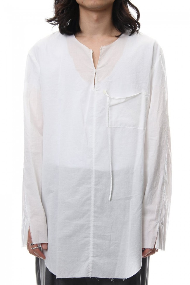 BUTTON & STRING TUNIC WHITE