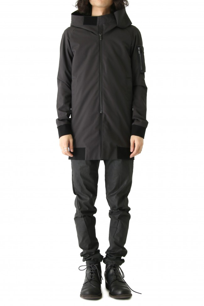 Hooded Jacket Silk Gabardine Charcoal