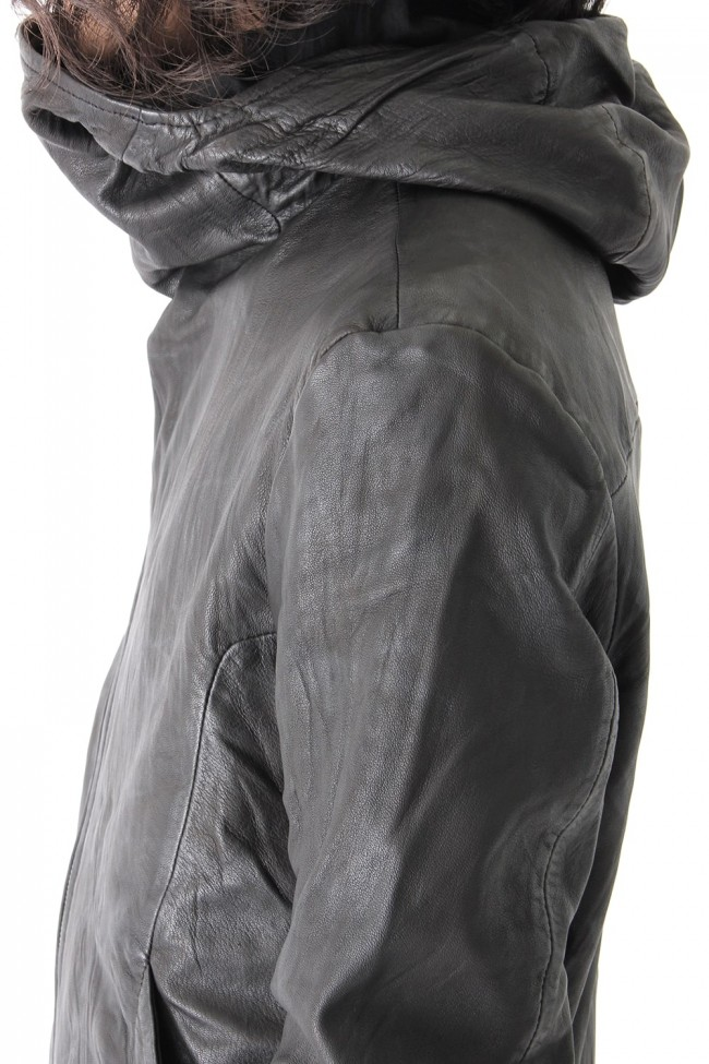 GUSSET HOOD LEATHER JACKET