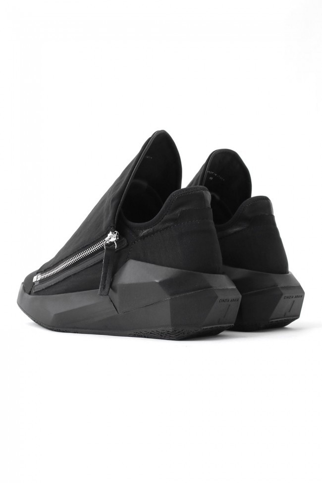 17SS DYAMONT W Zip Geometric Leather Sneakers NYCER / BLACK
