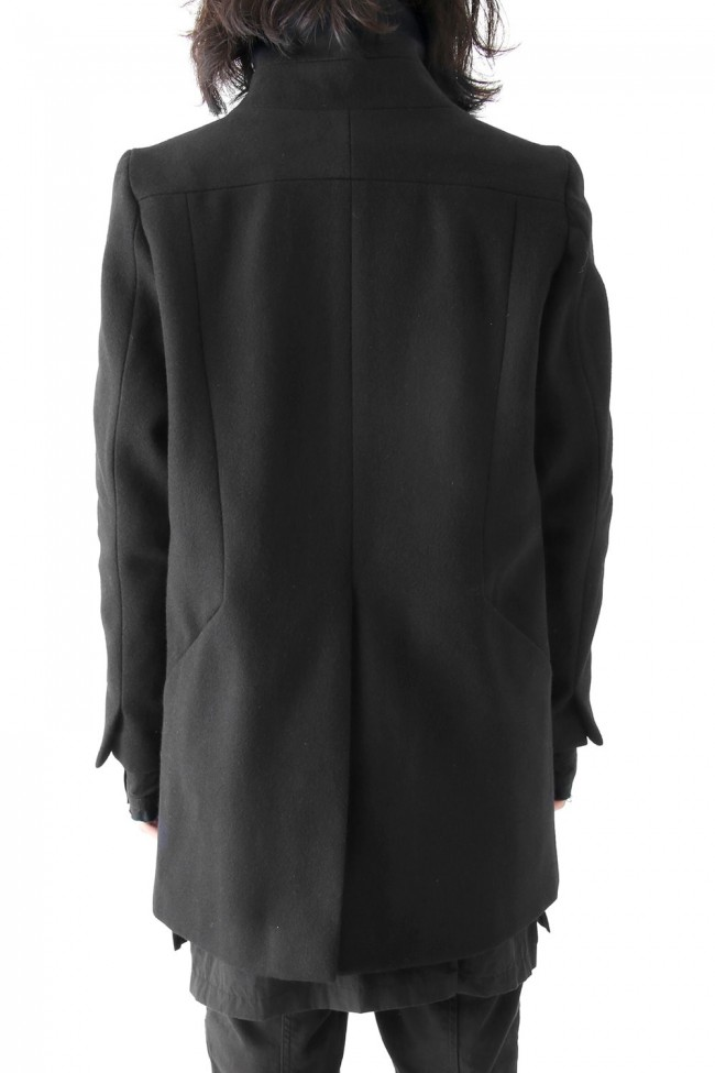 Wool Nylon Melton High Neck Coat Short