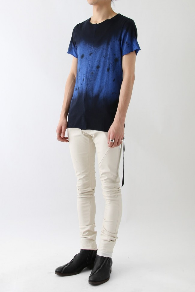 Blue Distressed Dying Splash Black Shadow T-shirt