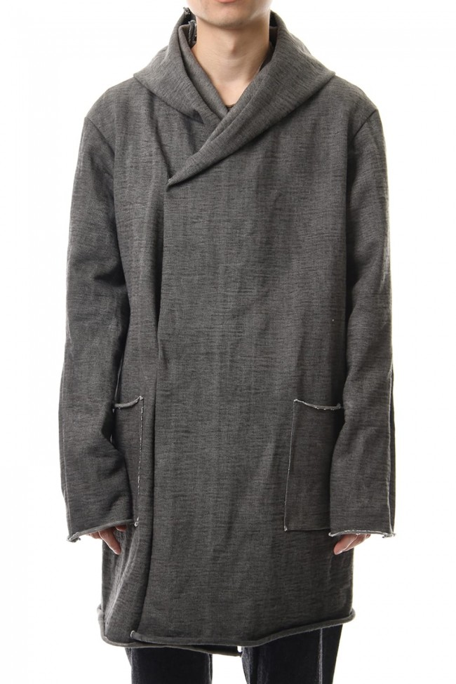 Heavy Jersey Hooded Coat Carbon