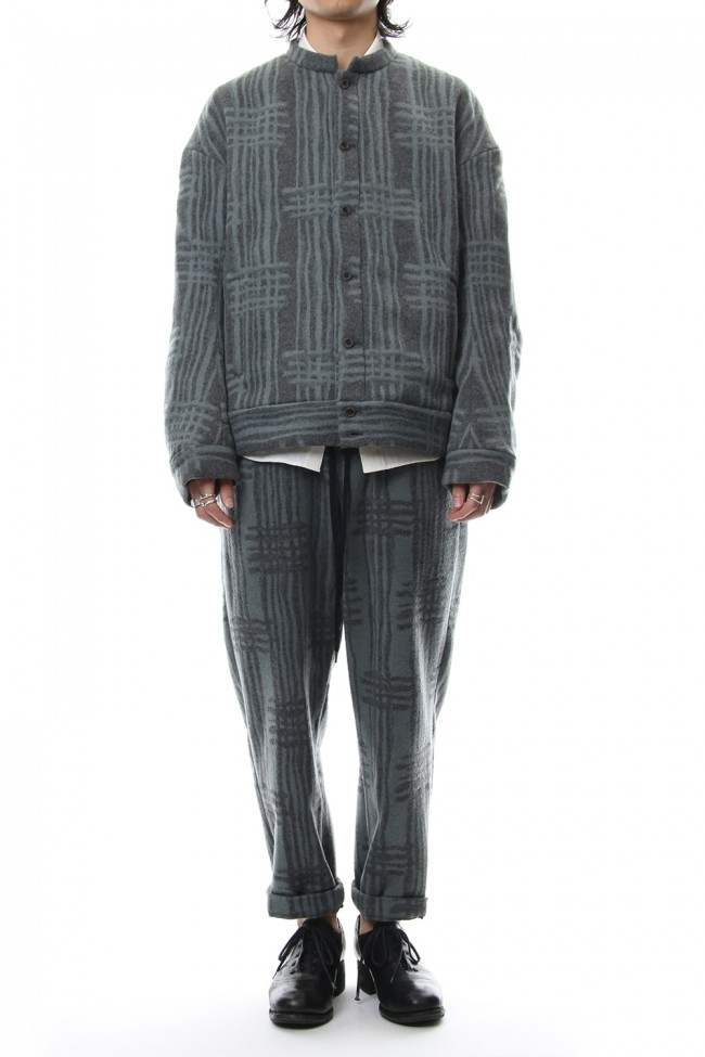 Jacket JK62 Grid Pattern Jaquard Wool Beaver Finished