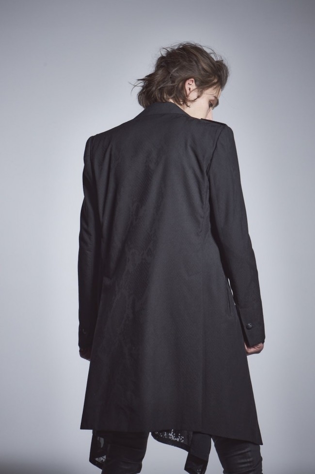 Epaulet Long Jacket Black × Black