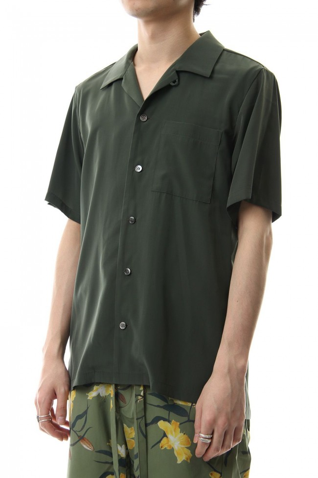 High Count Cupra Crepe de Chine Open Collared Shirt S/S Khaki