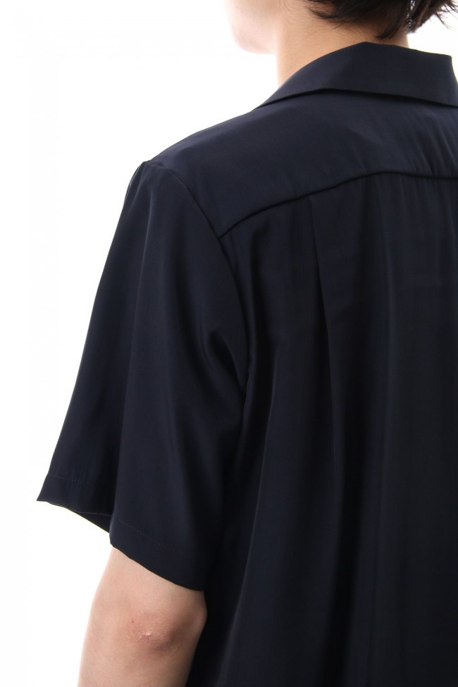 High Count Cupra Crepe de Chine Open Collared Shirt S/S Navy
