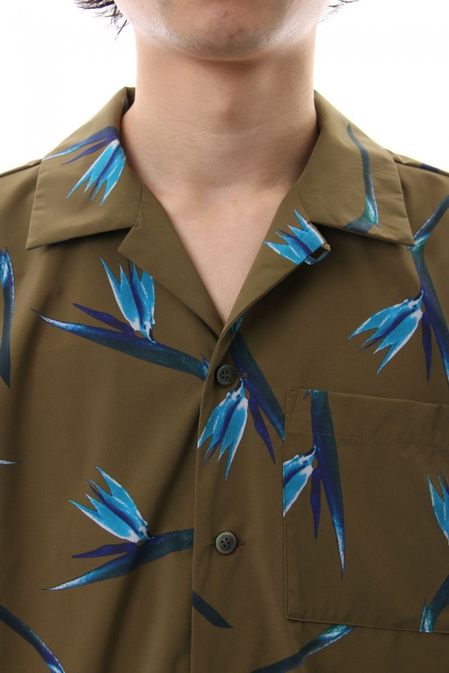 T400 Stretch Tafta Print Open Collared Shirt S/S X.Brown