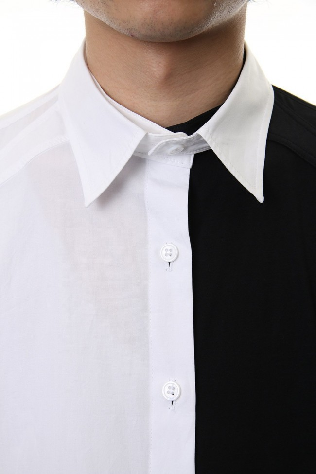 Spare Collar Black White Half Blouse