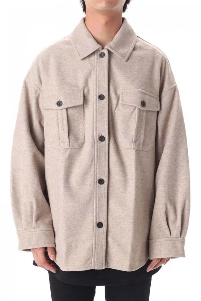 LEATHER TAG SHIRTS JACKET GRAY BEUGE