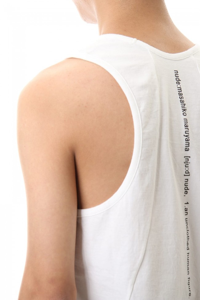 NUDE BACK PRINT TANK TOP White