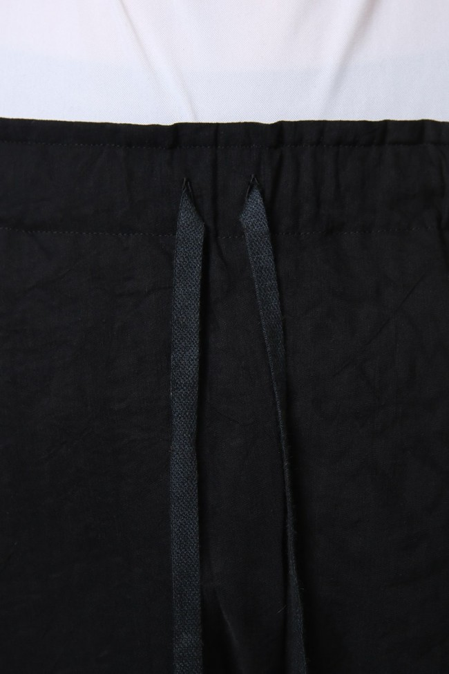 Pants Rayon Linen hand Made Salt Wrinkle Black  PA44-RY3
