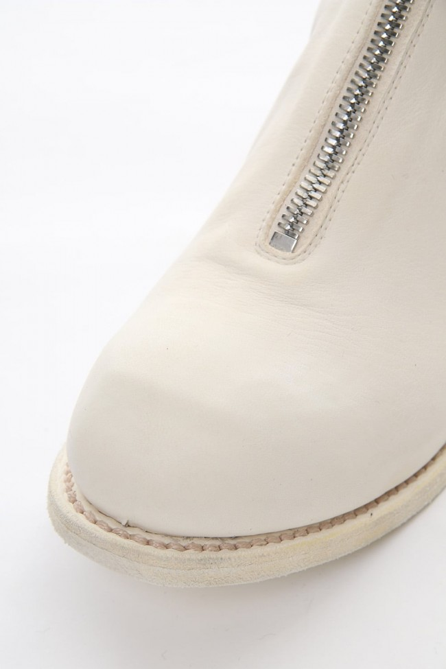 Front Zip Boots Double Sole - Horse Full Grain Leather White