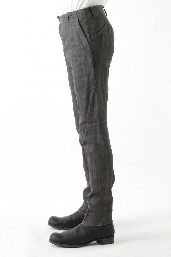 Slim Pants Linen Denim Charcoal Dyed