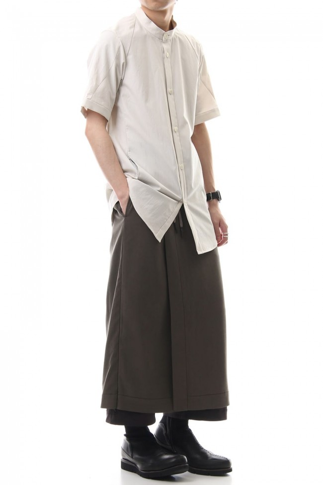 HAKAMA Pants Silk Herringbone Sand Blast Finish - Gray