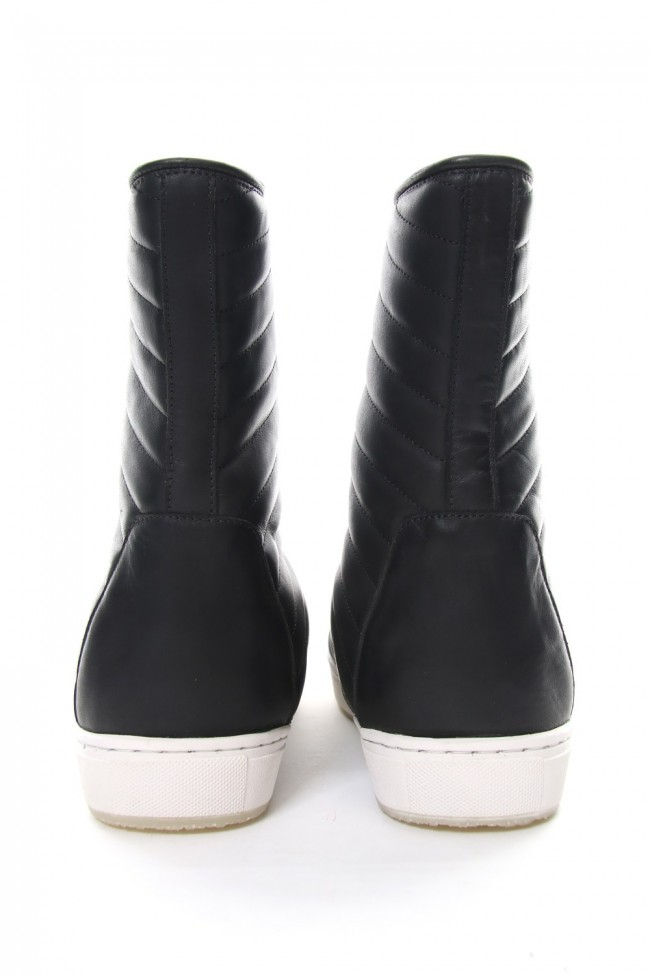 Smooth Leather Kilt Stitch Tornado Zip High Cut Sneakers RB-032 BLACK×WHITE