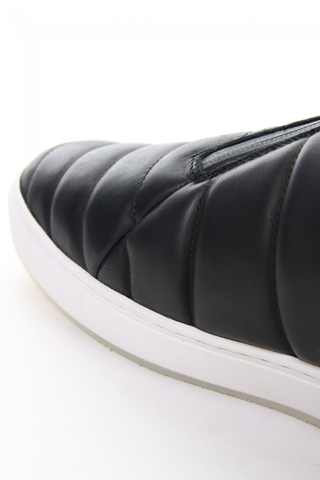 Smooth Leather Kilt Stitch Slip On High RB-033 BLACK×WHITE