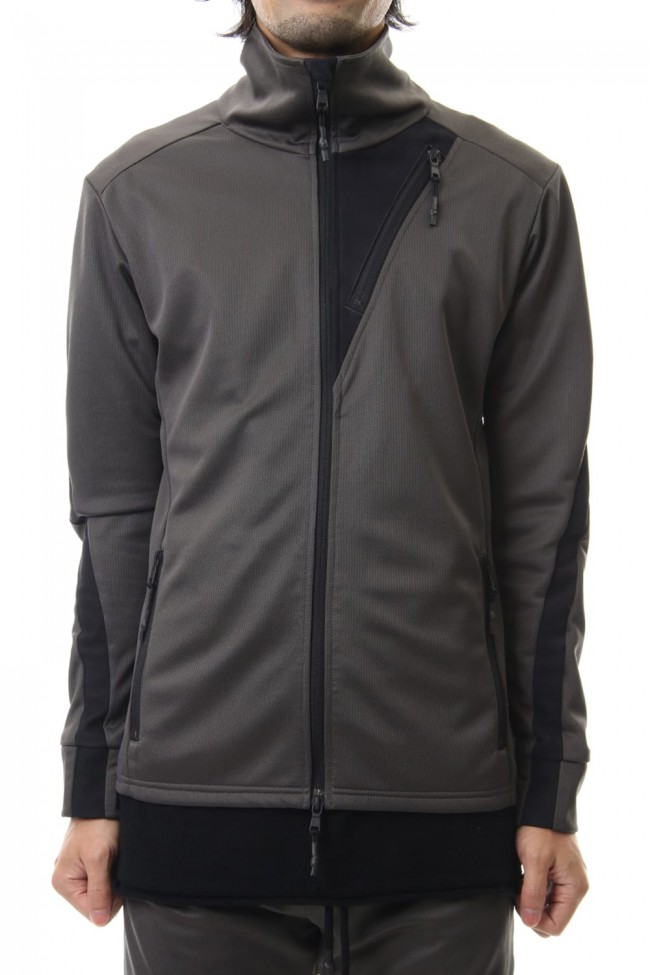 LEATHER LINE JERSEY JACKET D.Gray